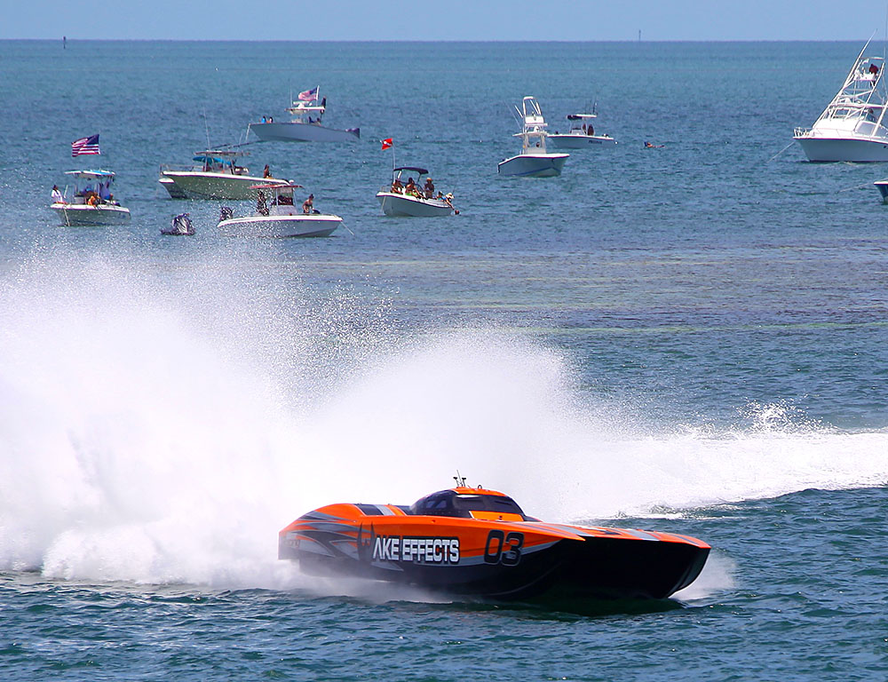Jeff Harris and Rusty Rahm earned the Superboat Unlimited class victory at the Marathon Super Boat Grand Prix. Photo courtesy Yvonne Aleman