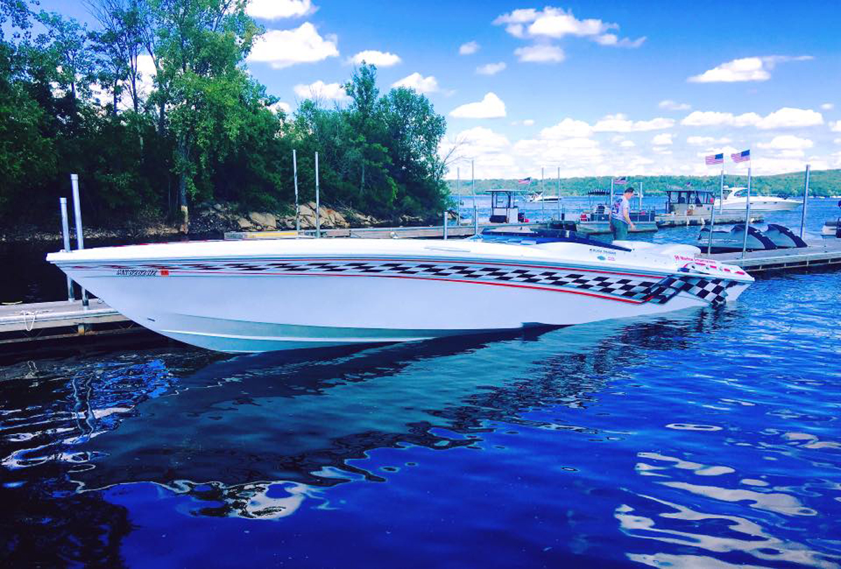 The Parvey's 43-foot Black Thunder was the fastest V-bottom in the 2015 Lake of the Ozarks Shootout.