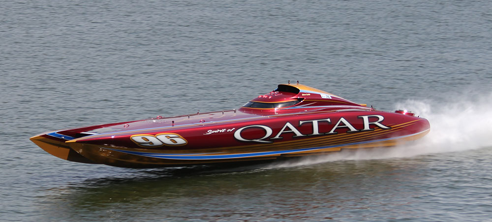 coskershootouthall3.jpg The Spirit of Qatar 50-foot Mystic set an all-time-best Lake of the Ozarks Shootout top speed with its 244-mph run in 2014. Photo by Jimmy Biro
