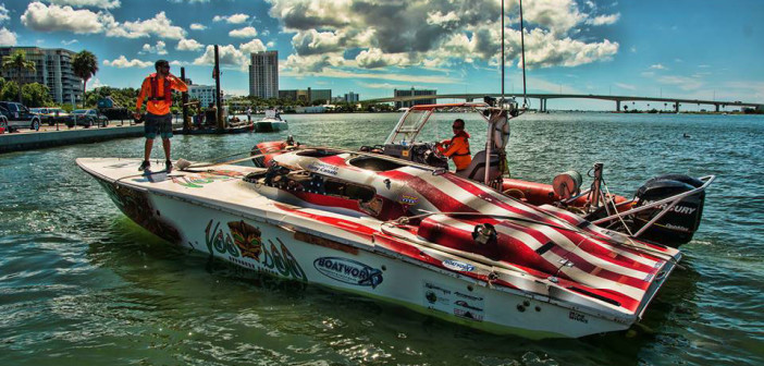 The VooDoo Offshore Racing team's 35-foot Fountain gets towed in after the accident at the SBI National Championships in Clearwater, Fla., on Sunday. Photo by Jay Nichols/Naples Image (https://naplesimage.wordpress.com)