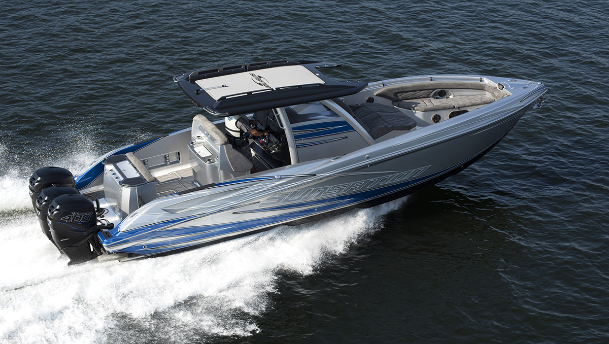 Sunsation's first Diamond Edition 34 CCX is powered by triple Mercury Racing Verado 400R engines. Photo courtesy Sunsation Boats