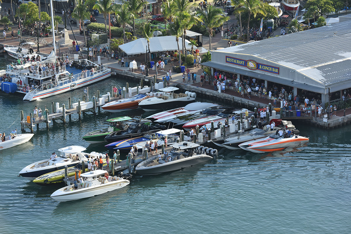 Want to see some cool poker run boats while you're in Key West? Head over to the Conch Republic Seafood Company. Photo courtesy Florida Powerboat Club