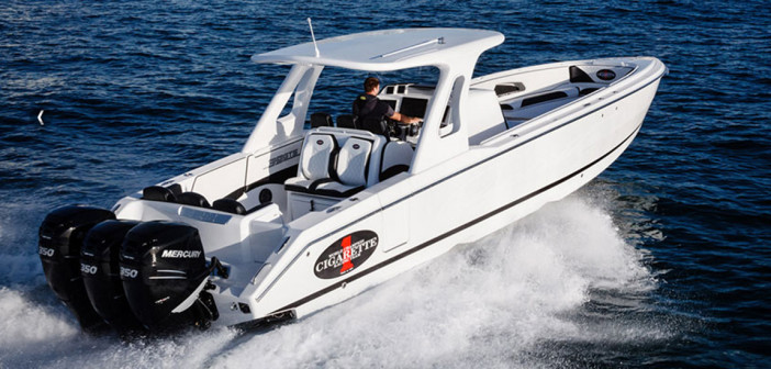"""For Bob Christie, ordering a new Cigarette 39 GTS (""""stock"""" model shown here) was the best boat-buying experience he's ever had."""