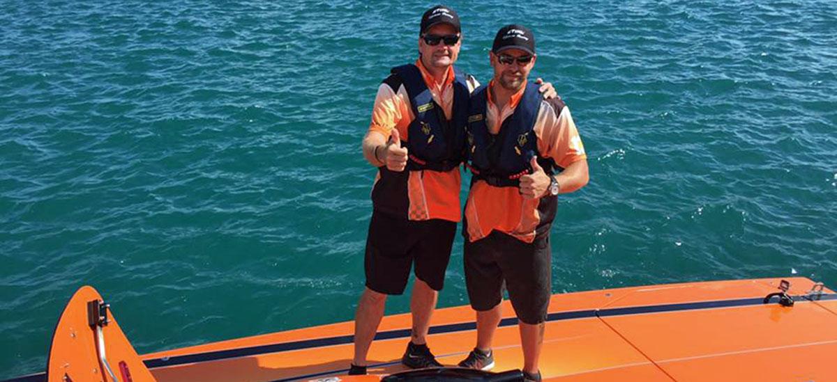 "Grant Bruggemann (left) and Noble. Said Bruggemann, ""Jake has got it."" Photo courtesy STIHL Offshore Racing Team (https://www.facebook.com/STIHLOffshoreRacing/?fref=ts)"