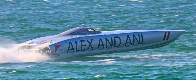 Thanks in large part to Cazzani's outgoing personality and unfailingly good nature, Alex And Ani is among the most popular teams in offshore racing. Photo by Pete Boden/Shoot 2 Thrill Pix. (https://www.facebook.com/Shoot-2-Thrill-Pix-130528070292399/)