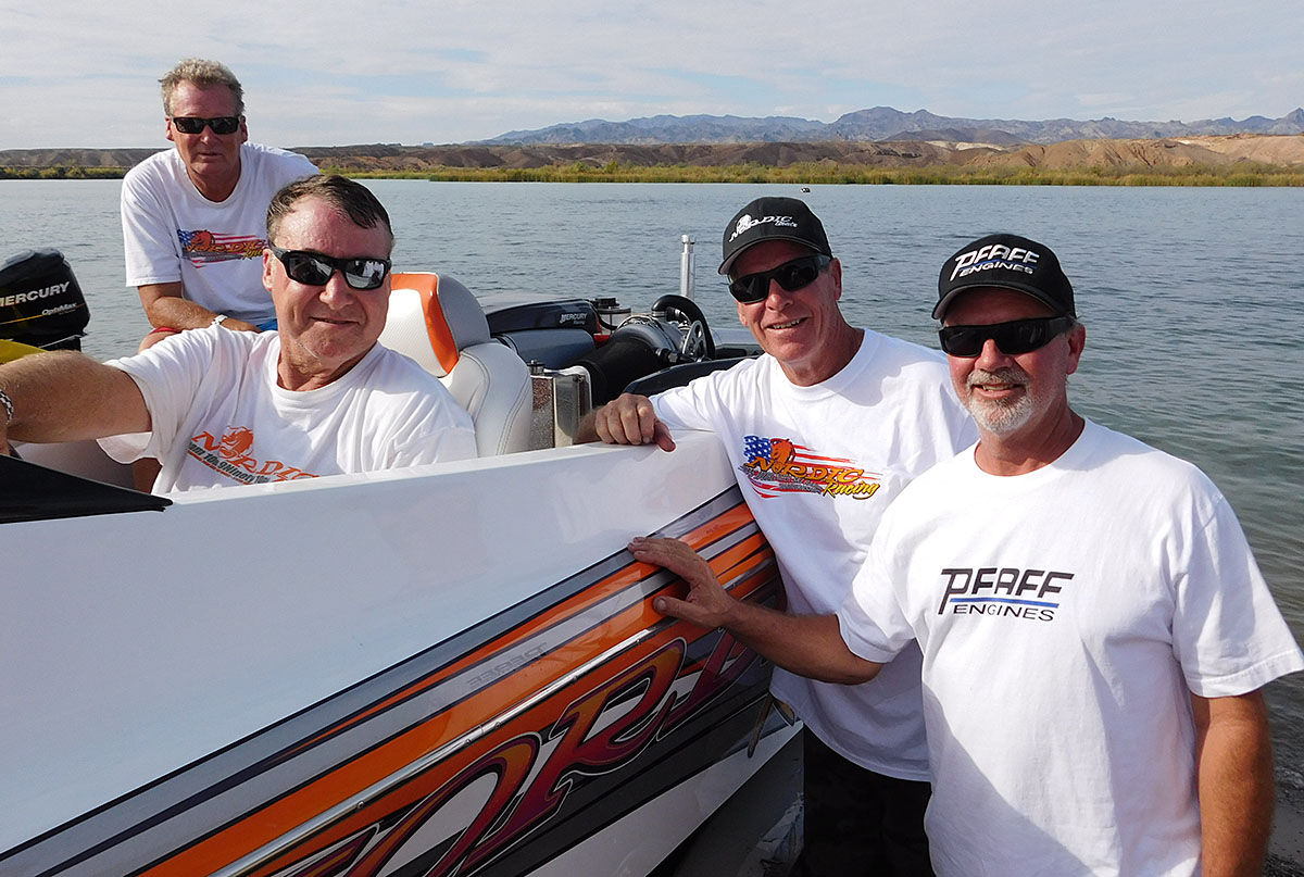Team Nordic's Dennis Hall (from left), Randy Davis, Billy Dunsmore and Gordy Jennings were plenty satisfied with their overall win in the team's 21-foot Nordic.