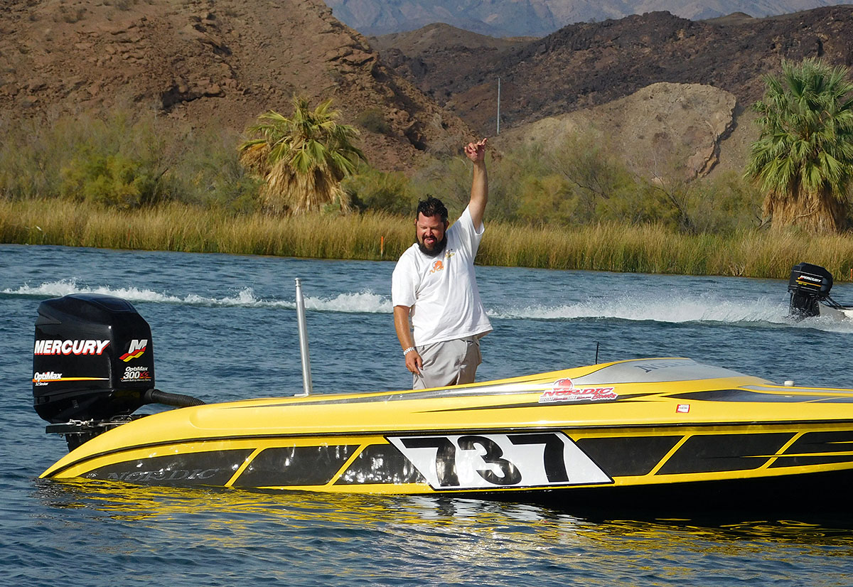 Steve Davis celebrated after he and skier Martie Wells won their class and finished second overall in the NWSRA Parker Enduro Heat A race on Saturday.
