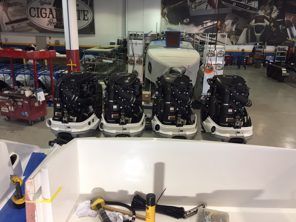 About the only easy choice in the build process for Christie was power—four 350-hp Mercury Marine Verado outboard, which will be dressed up custom-painted cowlings.