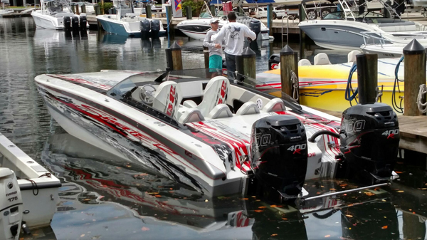 Repowered with Mercury Racing Verado 400R outboard engines, this 30-foot Skater was delivered in August to its Arkansas-based owner.