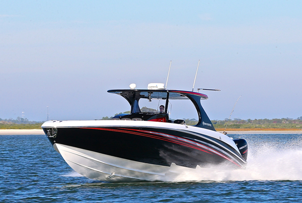 While Mystic Powerboats has its first M4200 RF luxury center console ready for the Miami International Boat, the company still has plenty to do to get ready for the 2017 event in February. Photo by Pete Boden. (https://www.facebook.com/Shoot-2-Thrill-Pix-130528070292399/)