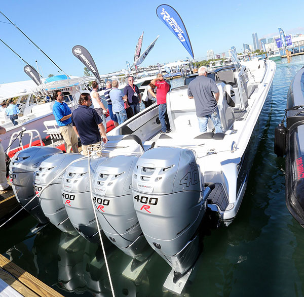 Although it was far from complete, Nor-Tech brought its 450 Sport CC powered by five 400-hp Verado engines to the Miami International Boat Show to provide a few demo rides. Photo by Pete Boden