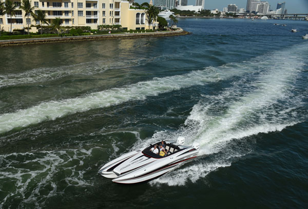 Sonic Powerboats ran its Mercury Racing Verado 400R-powered 32 Fast Cat in the 2016 Key West Poker Run in November. Photo courtesy Florida Powerboat Club