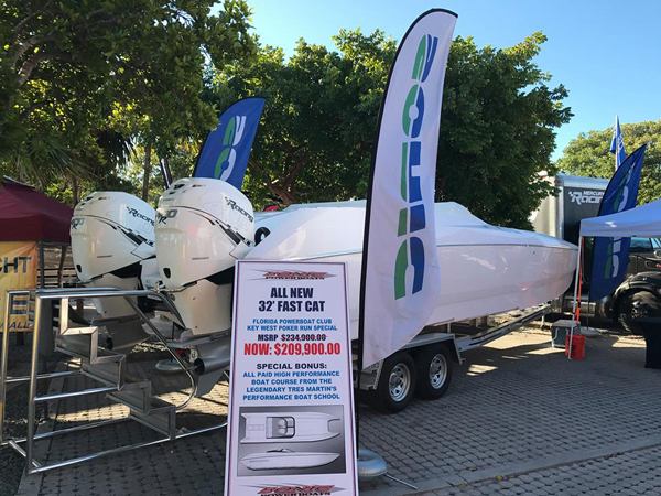Sonic's latest 32-foot catamaran was on display in the Florida Powerboat Club's Key West Poker Run Village. Photo courtesy Sonic Powerboats
