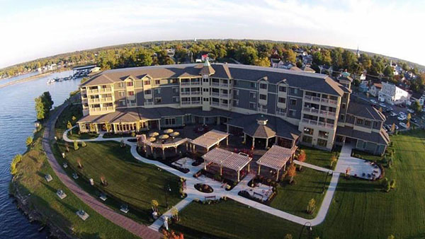The two-year-old 1000 Islands Harbor Hotel is going to serve as the host hotel for the inaugural 1000 Islands Charity Poker Run in Clayton, N.Y. Photo courtesy 1000 Islands Harbor Hotel