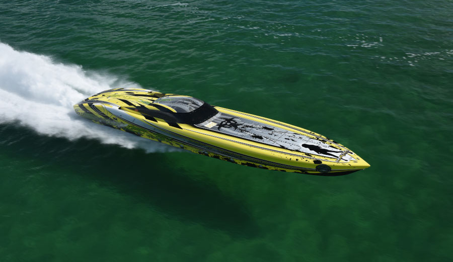 "Michael ""Doc"" Janssen is planning to bring his 53-foot canopied Outerlimits V-bottom to the poker run in Boyne City, Mich. Photo courtesy Florida Powerboat Club"