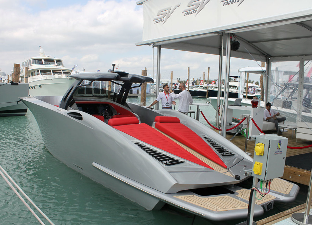 The all-new ALPHA from SV Yachts stood out at the docks of Miami Marine Stadium Park and Basin. Photo by Jason Johnson